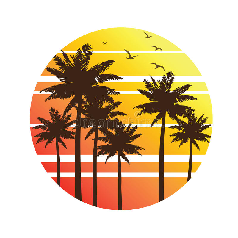 Palm trees sunset stock illustration