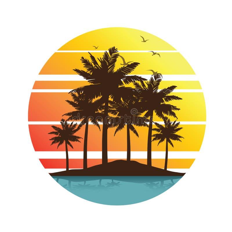 Palm trees sunset royalty free illustration