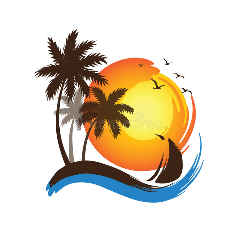 Palm trees sunset vector illustration