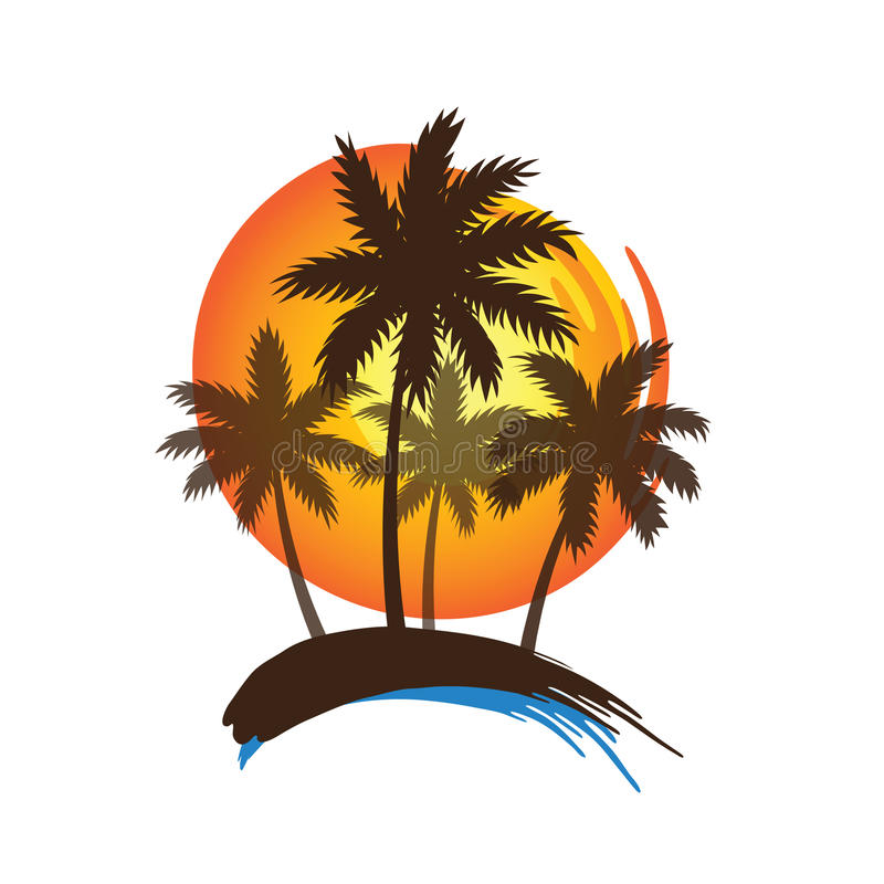 Palm trees sunset stock illustration