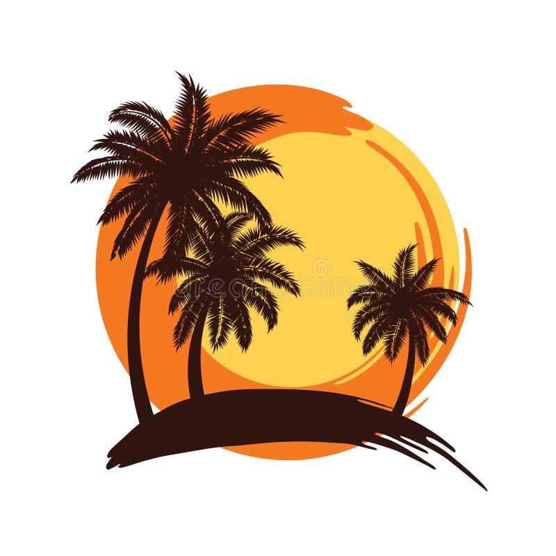 Palm trees sunset vector illustration