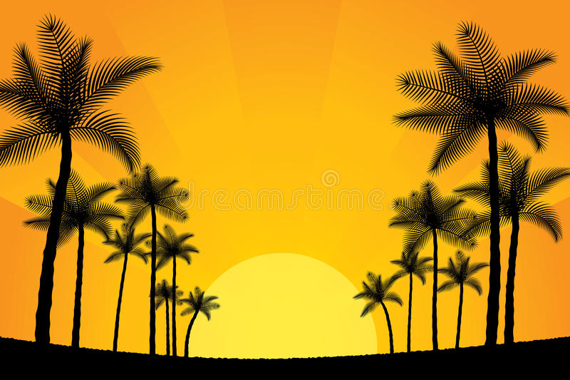 Palm trees. Time of summer vacation. Vector illustration of summer vacation background with palm trees vector illustration