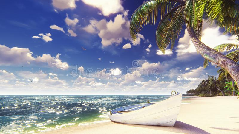 Palm trees on a tropical island with blue ocean, old boat and white beach on a Sunny day. Beautiful summer scene. 3D. Palm trees on a tropical island with blue stock photos
