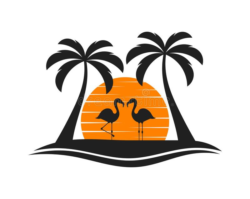 Palm trees, two flamingos and sun setting over island. Vector illustration royalty free illustration