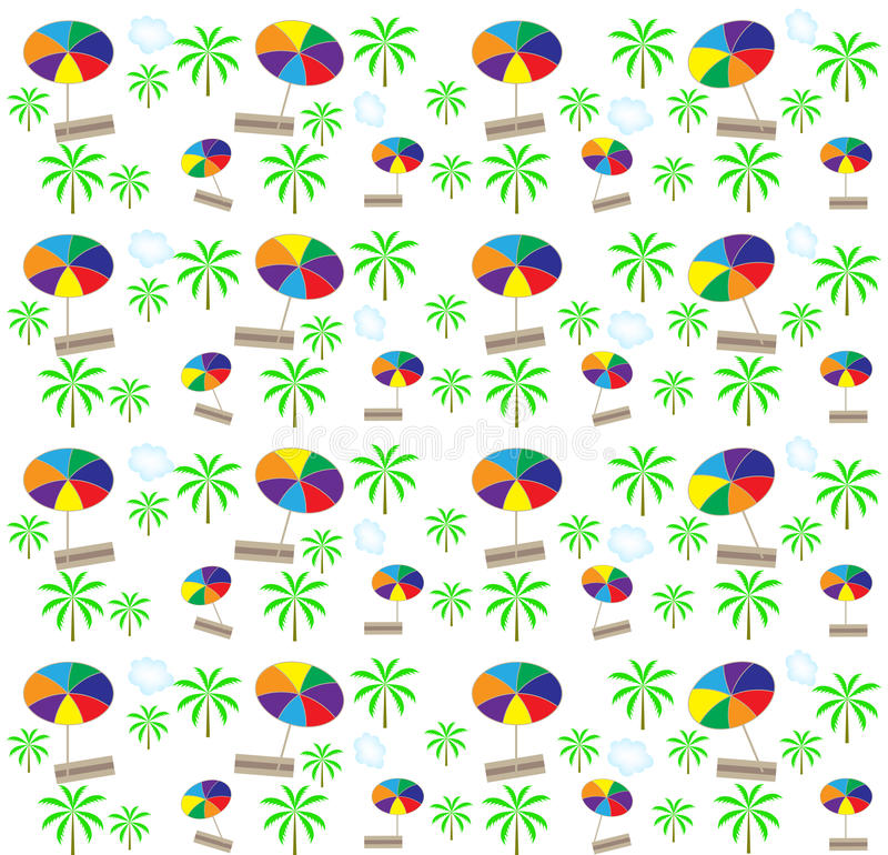 Download Palm Trees, Umbrellas Seamless Pattern. Vector Stock Vector - Image: 27857796