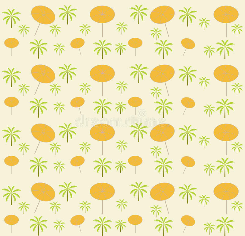 Palm trees, umbrellas seamless pattern. Vector