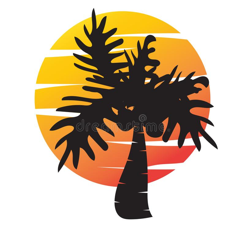 Summer tree palm logo icon vector template stock illustration
