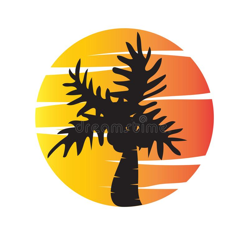 Summer tree palm logo icon vector template vector illustration