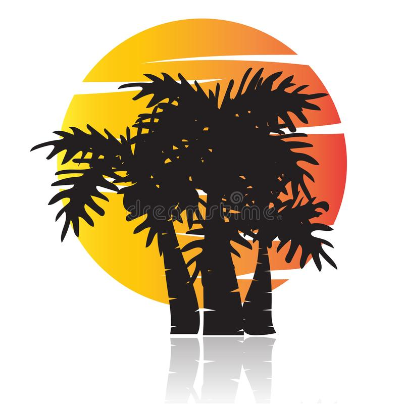 Summer tree palm logo icon vector template stock illustration