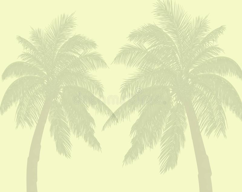 Palm trees in yellow background. vector illustration