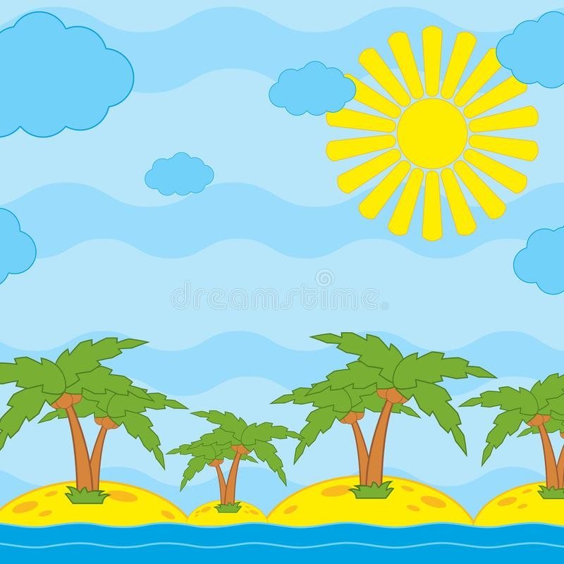 Palm trees on yellow sand by the sea against a blue sky with clouds and sun.  vector illustration
