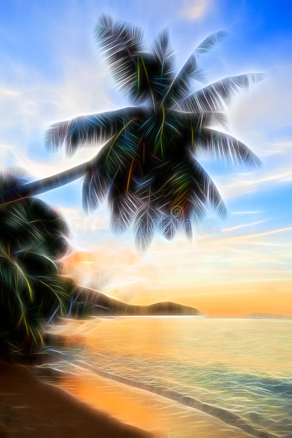 Palm on a tropical beach at sunset. Afterglow fantasy effect. royalty free stock images