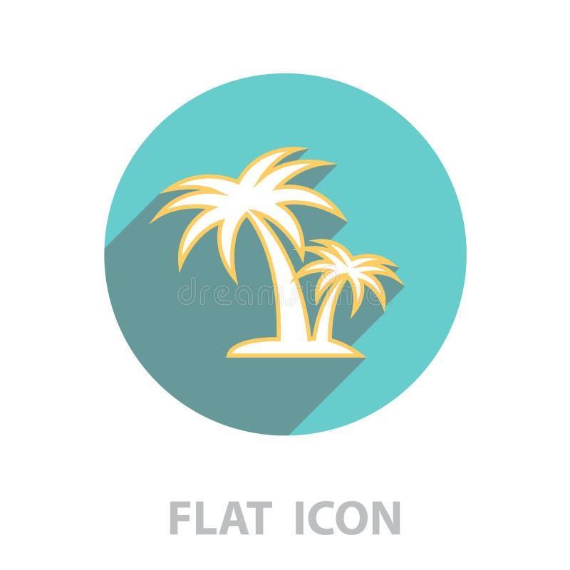 Palm tropical tree line icon stock illustration