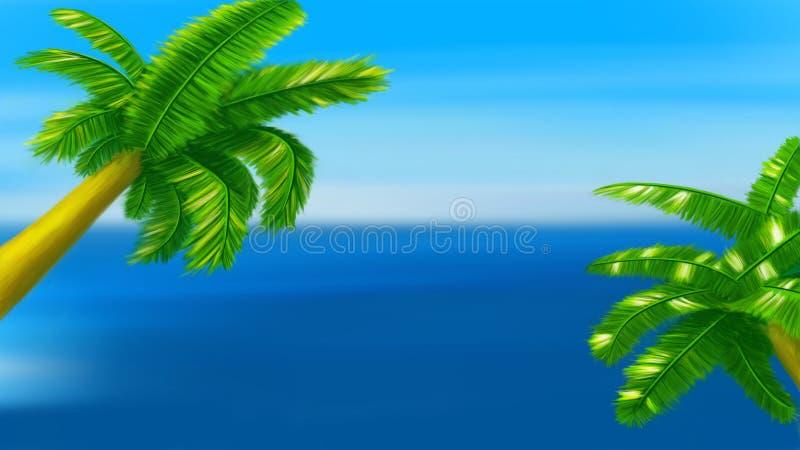 Palm twee op blauw royalty-vrije illustratie