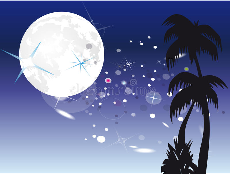 Download Palm under moon stock vector. Image of night, cloudy - 15345306