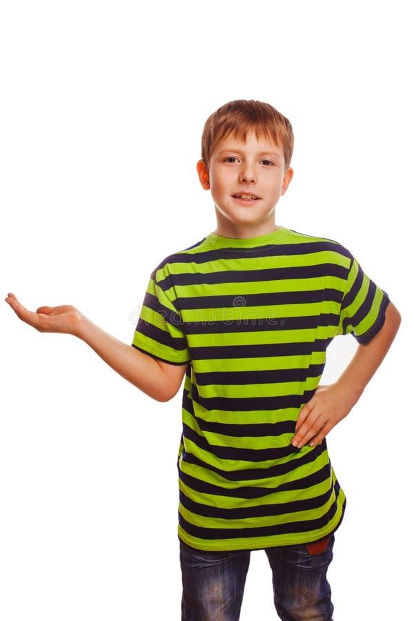 Palma aberta da mão do adolescente louro da criança do menino isolada fotos de stock