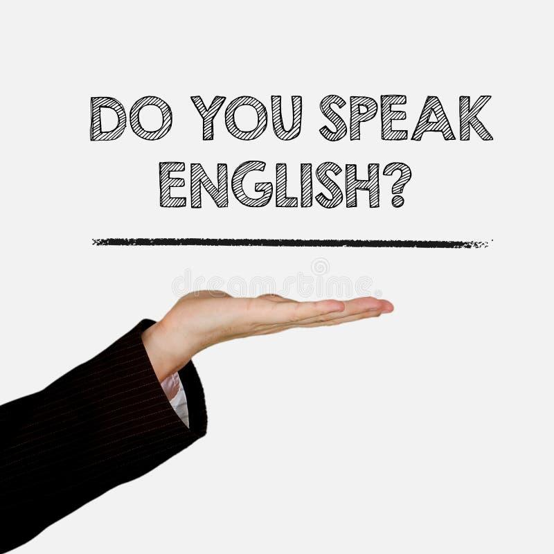 Palma aberta da mão da exibição da mulher com texto você fala o inglês? isolado no fundo fotos de stock royalty free