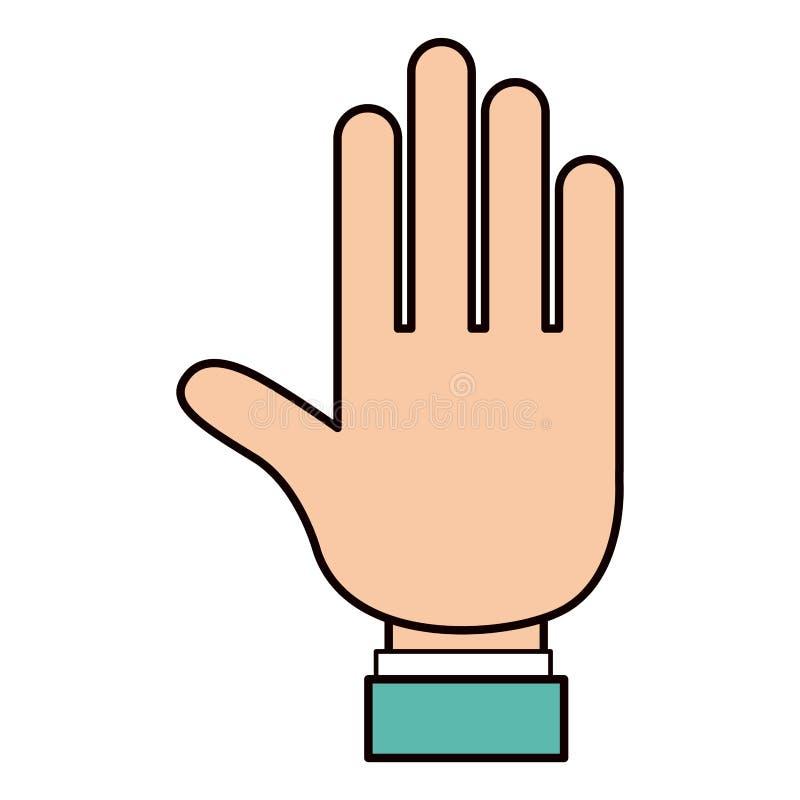 Palma aberta da mão da silhueta do esboço da cor com luva da camisa ilustração stock