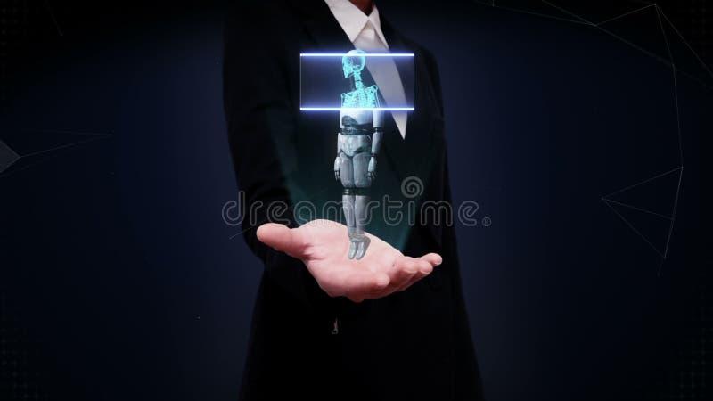 Palma aberta da mulher de negócios, corpo de giro de varredura do robô 3D, osso humano video estoque