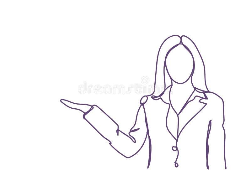 Palma aberta da terra arrendada da mulher de negócio ao esboço fêmea da silhueta da garatuja do espaço da cópia no fundo branco ilustração royalty free
