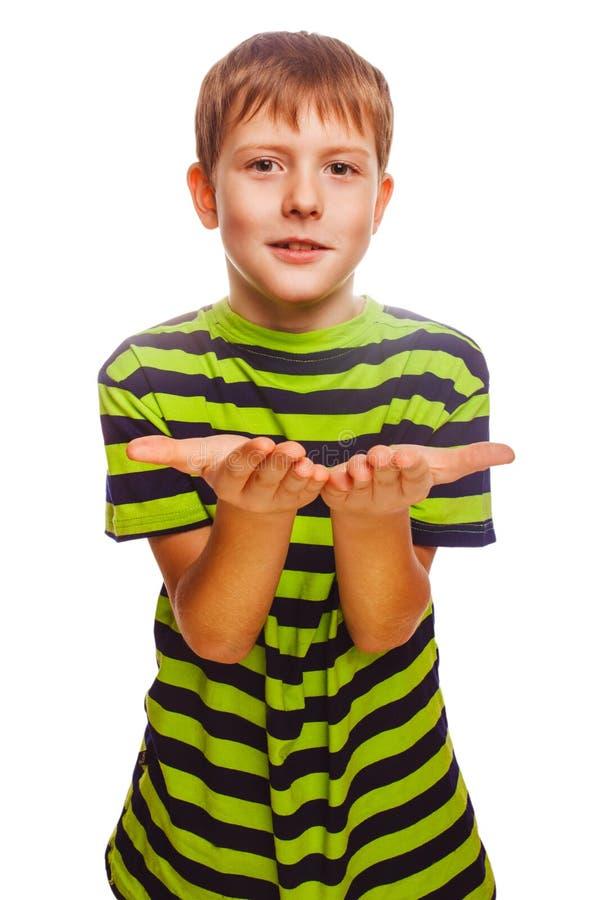 Palma aberta loura da mão do adolescente da criança do menino isolada fotos de stock royalty free