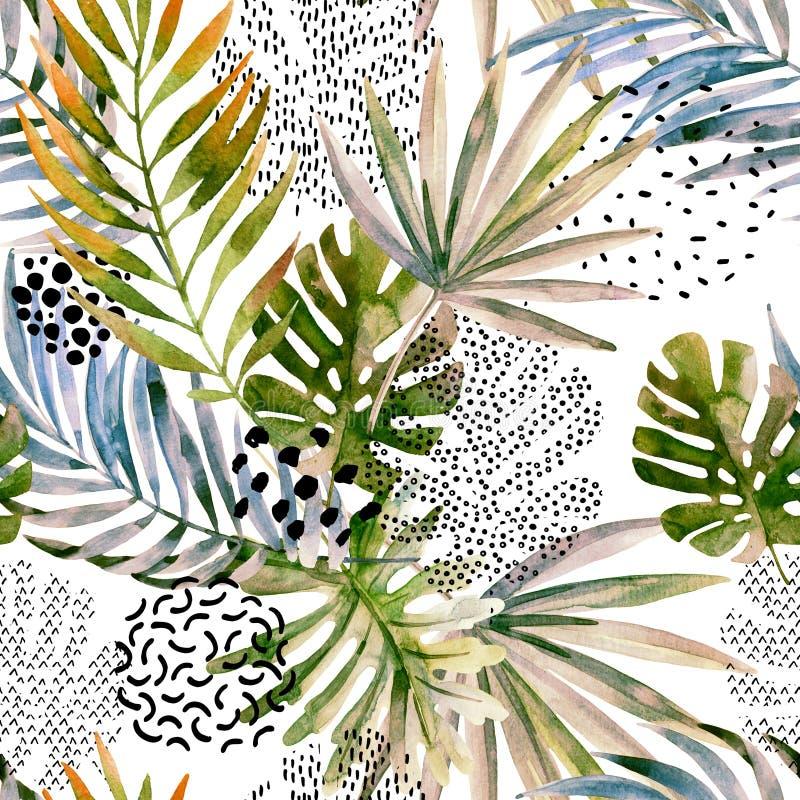 Palma abstracta, modelo inconsútil de la hoja del monstera ilustración del vector