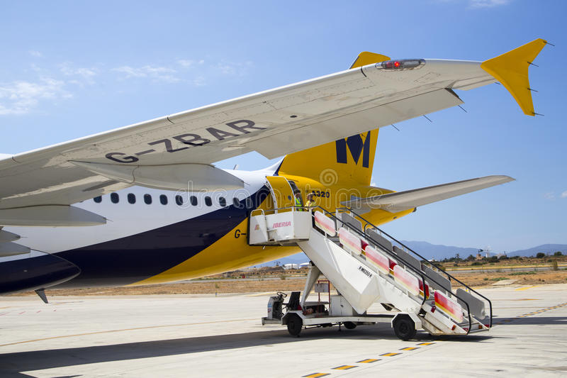 Download PALMA AIRPORT, MALLORCA   1 AUGUST 2015. Airplane Stairs At Rear  Of Monarch