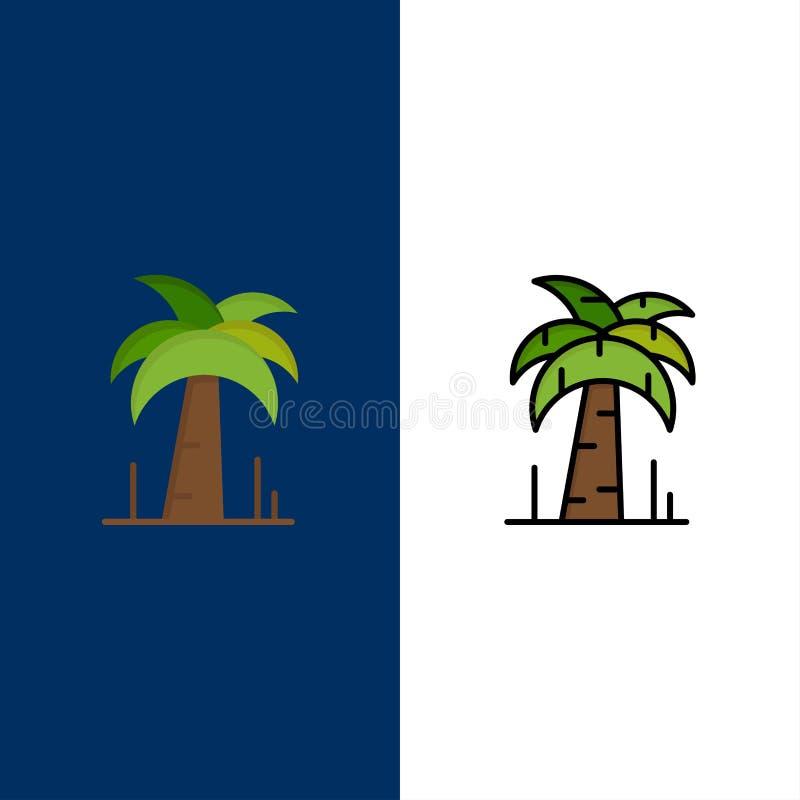 Palma, albero, icone del Brasile Il piano e la linea icona riempita hanno messo il fondo blu di vettore illustrazione di stock