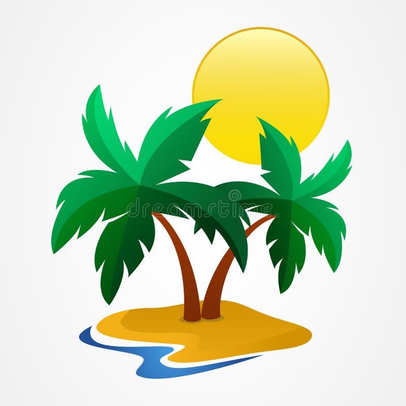 Palma-albero verde sull'isola tropicale Illustrazione di vettore con