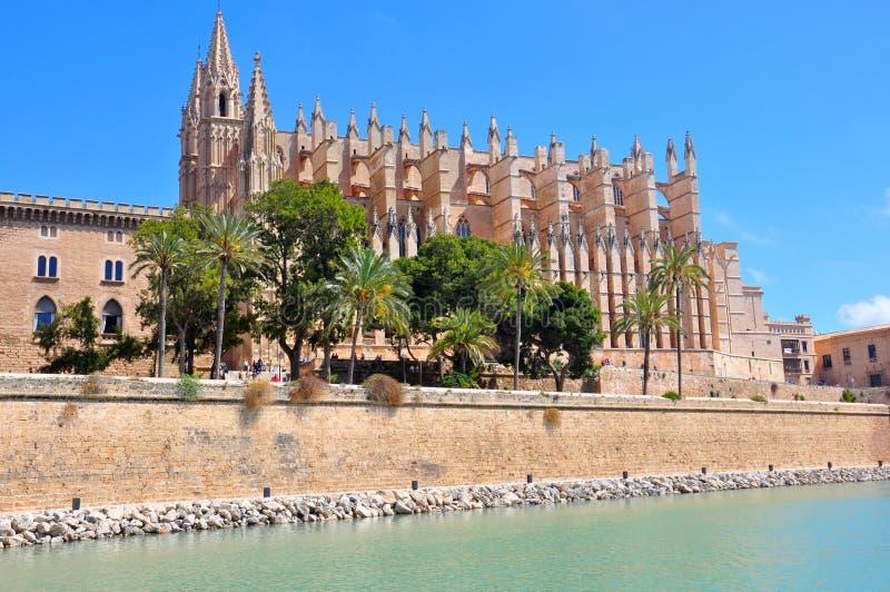 Palma Cathedral, baie de Palma de Mallorca, Espagne images libres de droits
