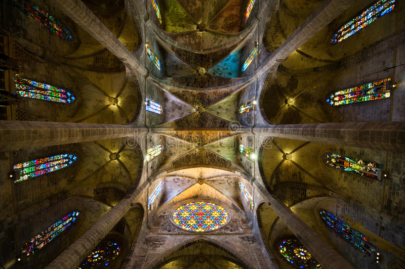 Palma cathedral imense ceilling stock photo