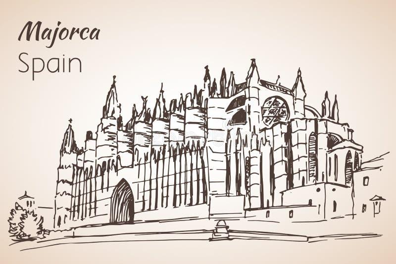 Palma Cathedral Le Seu skizze stock abbildung