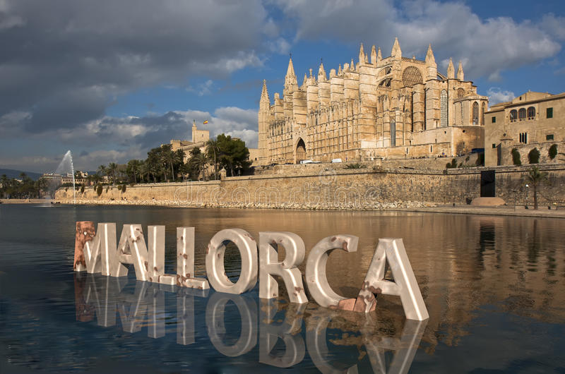 Palma Cathedral in Majorca stock afbeelding
