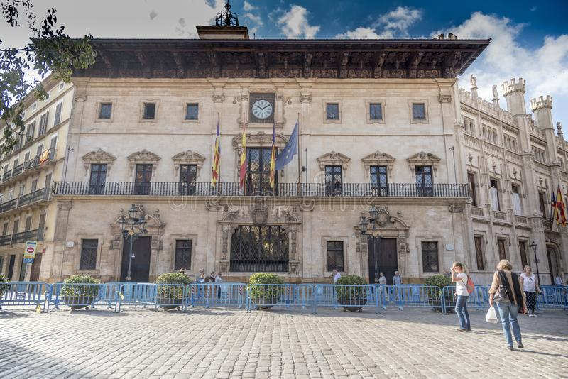 Palma City-raadsbureaus of Ajuntament DE Palma royalty-vrije stock foto's