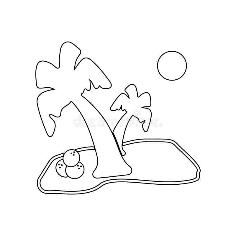 Palma con el icono del coco Elemento de la playa para el concepto y el icono m?viles de los apps de la web Esquema, l?nea fina ic ilustración del vector