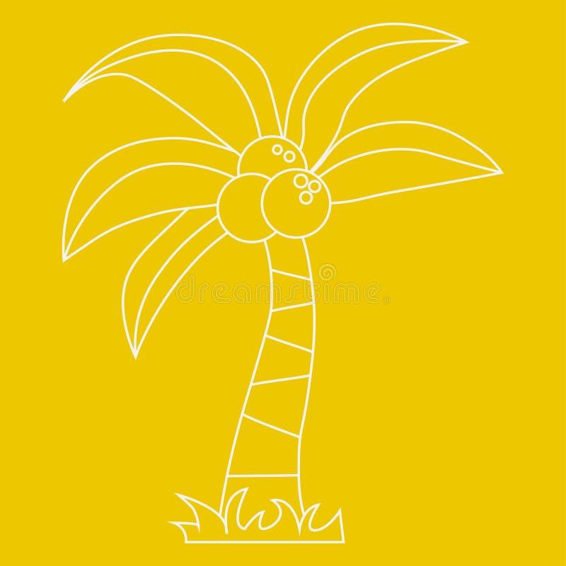 Palma con il contorno della noce di cocco illustrazione vettoriale