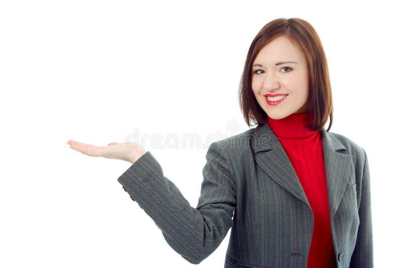 Palma da mão da preensão da mulher de negócio acima fotos de stock royalty free