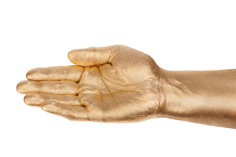Palma da mão dourada do homem imagens de stock