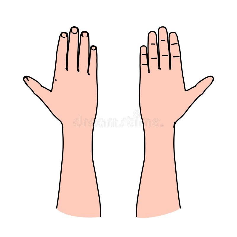 Palma da mão humana como a linha conceito da arte do cumprimento, do juramento ou de símbolo de advertência ilustração do vetor