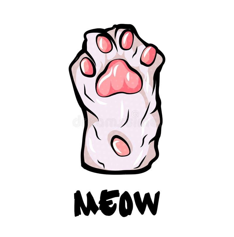 Palma da pata do gato, no fundo branco estilo simples do pop art dos desenhos animados ilustração royalty free