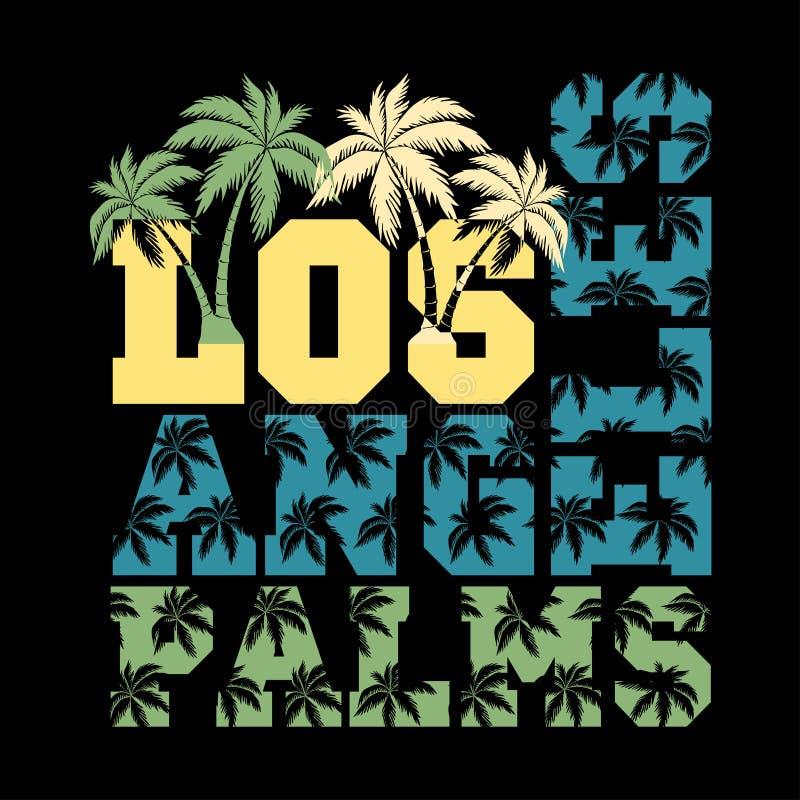 Palma de Los Angeles, selo da tipografia, t-shirt de Califórnia ilustração do vetor