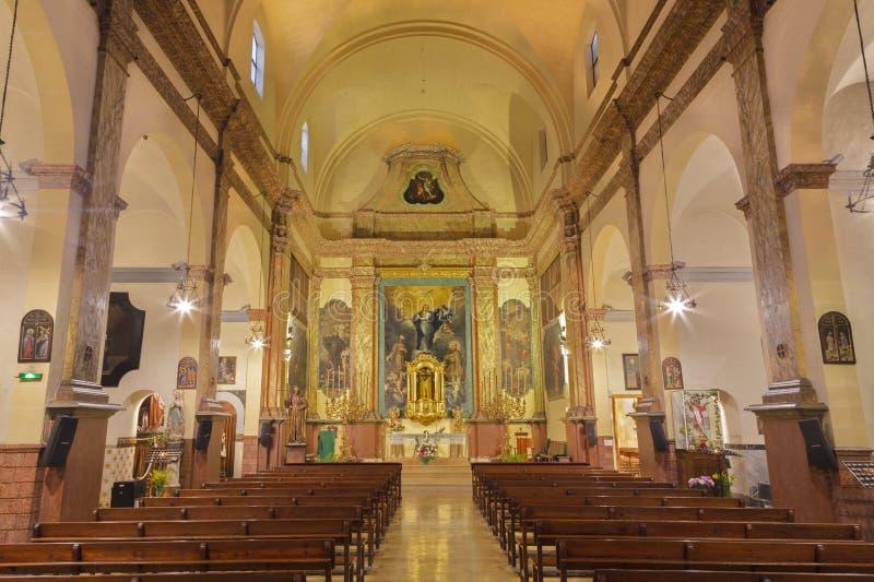 PALMA DE MAIORCA, ESPANHA - 29 DE JANEIRO DE 2019: A nave da igreja do Capuchin fotografia de stock