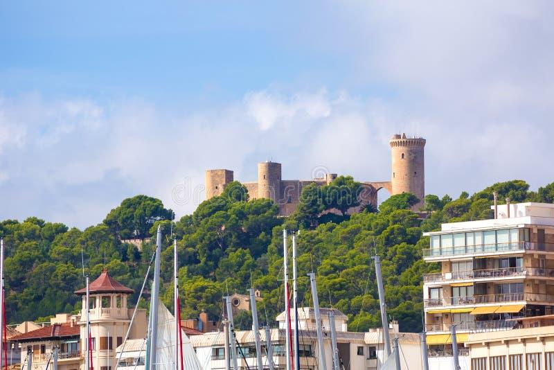 Palma de Majorca-horizon met Bellver-kasteel royalty-vrije stock foto