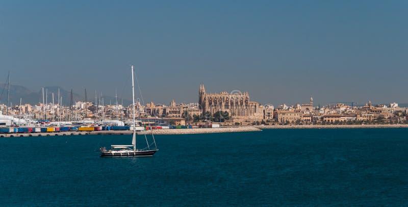 Palma de majorca panorama, viewed from the sea royalty free stock photography