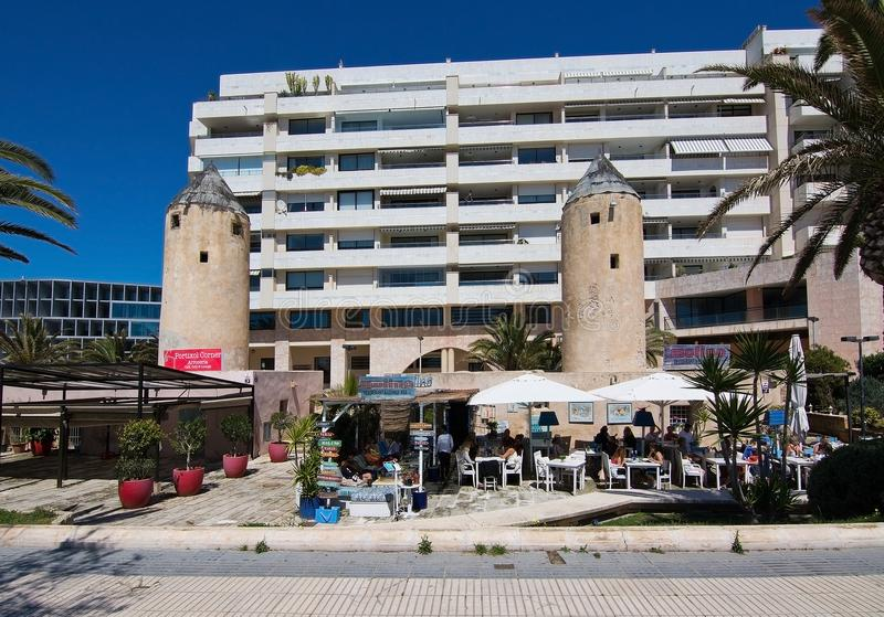 Molino restaurant. PALMA DE MALLORCA, BALEARIC ISLANDS, SPAIN - APRIL 10, 2016: Molino restaurant near Portixol in Palma de Mallorca, Balearic islands, Spain on royalty free stock photo