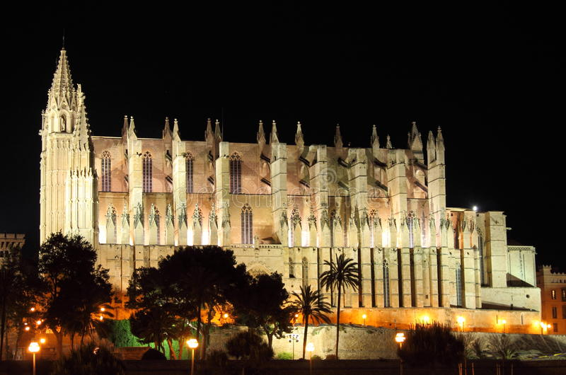 Palma de Mallorca cathedral by night royalty free stock photography