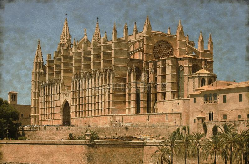 Palma de Mallorca cathedral - Vintage stock images