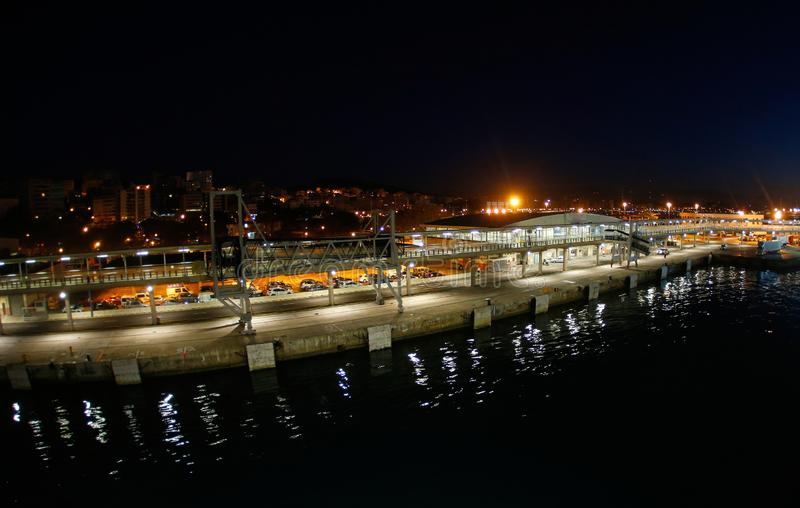 Palma de Mallorca commercial and passengers docks at port during night wide royalty free stock images