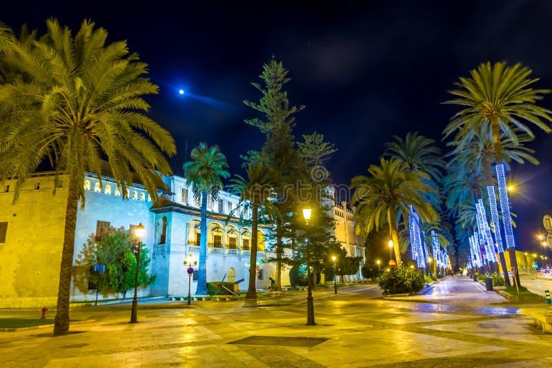 Palma de Mallorca en la plaza de Major Majorca Spain de la noche fotografía de archivo libre de regalías