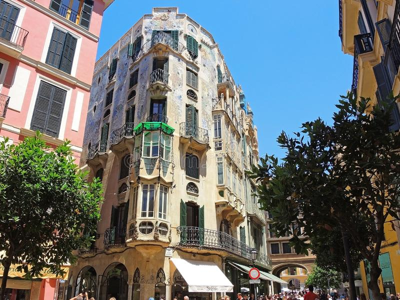 Palma de Mallorca, Espanha As construções e as casas históricas no centro da cidade velho imagens de stock royalty free